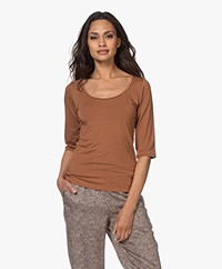 no man's land Viscose T-shirt with Half Long Sleeves - Red Earth