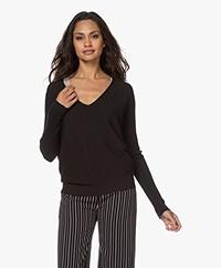no man's land Rib Knitted Cotton V-neck Sweater - Core Black