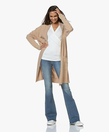 LaSalle Long Open Shawl Collar Cardigan in Wool Blend - Camel