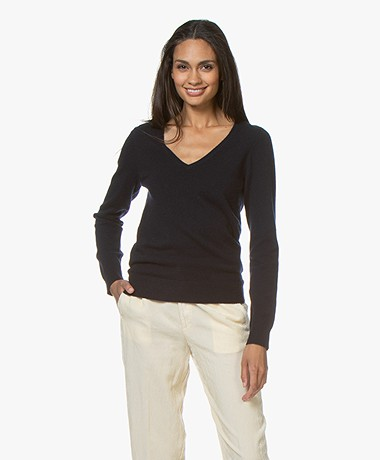 Repeat Cashmere V-neck Pullover - Navy