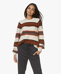 Closed Knitted Wool Blend Sweater with Stripes - Blanched Almond