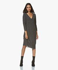 Pomandère Knitted Wool Blend Midi Dress - Dark Grey Melange