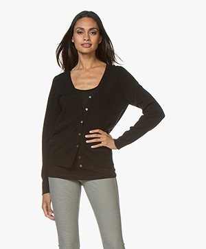 Repeat Cashmere V-neck Cardigan - Black