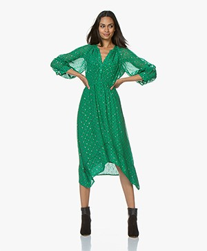 ba&sh Cyana Midi Dress with Lurex Details - Green