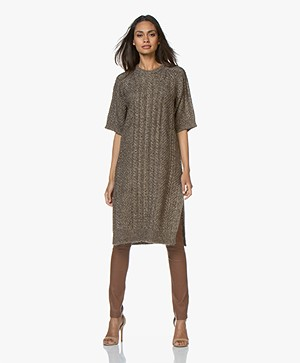 Mes Demoiselles Culkin Knitted Dress with Lurex - Brown