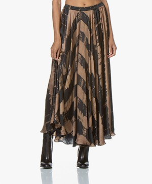 Mes Demoiselles Danish Satin Tie-dye Maxi-skirt - Brown