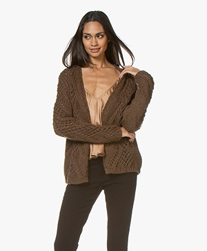 Sibin/Linnebjerg Cento Open-worked Cardigan - Brown