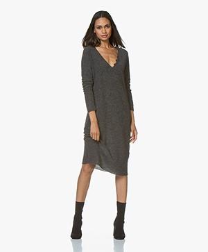 Pomandère Knitted Wool Blend Midi Dress - Dark Grey Melange