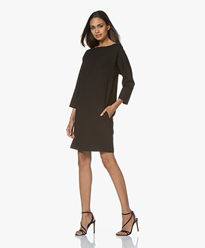 Pomandère Wool Blend Crepe Dress - Black