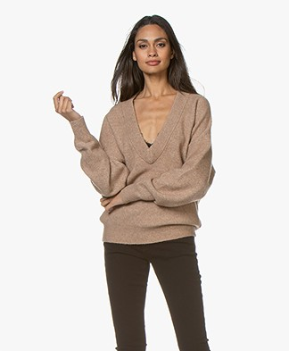 IRO Alva Deep V-neck Sweater - Light Brown