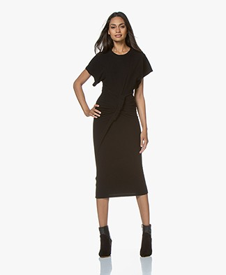 IRO Wilco Fleece Jersey Midi Dress - Black