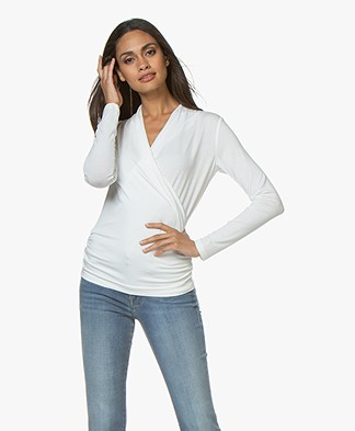 LaSalle Lyocell Jersey Overslag T-shirt - Panna