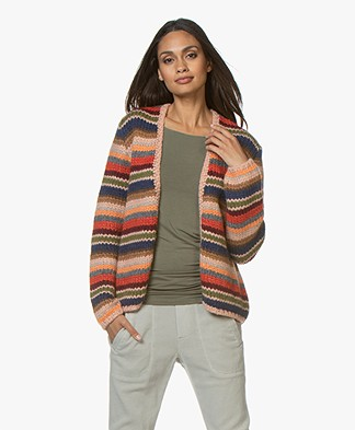 Sibin/Linnebjerg Columbus Knitted Open Cardigan - Multicolored