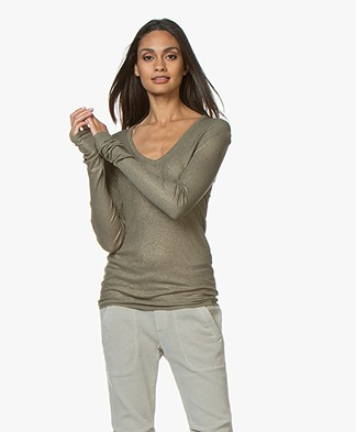 Majestic Filatures Lurex V-neck Long Sleeve T-shirt - Khaki/Gold
