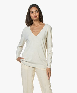 Sibin/Linnebjerg Loretto Lurex V-neck Pullover - Off-white
