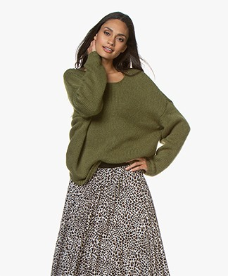 Sibin/Linnebjerg Nova Alpacamix Oversized Trui - Light Army