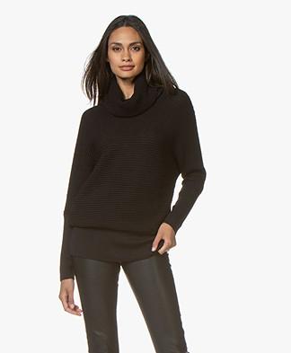 Sibin/Linnebjerg Tut Merino Sweater with Draped Turtleneck - Black