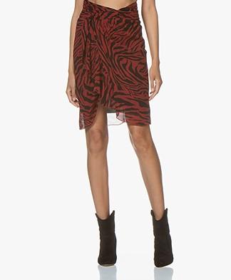ba&sh Scarlett Viscose Chiffon Print Skirt - Pourpre