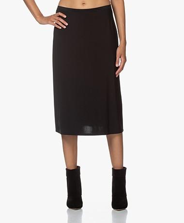 Repeat Viscose Microfiber Jersey Midi Skirt - Black