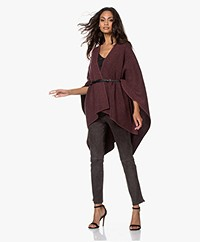 Repeat Knitted Poncho Cardigan - Black/Burgundy