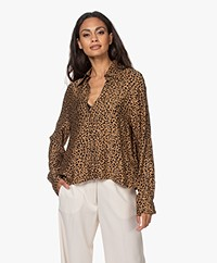 Drykorn Charlad Luipaardprint Viscose Blouse - Toasted Coconut