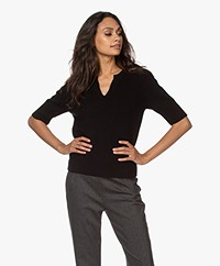Repeat Cashmere Short Sleeve Sweater - Black