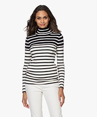 Vanessa Bruno Piper Striped Turtleneck Sweater - Ecru/Marine