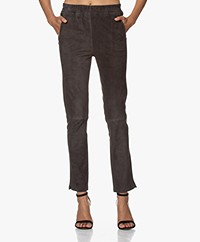 Repeat Luxury Suede Leather Pull-on Pants - Iron