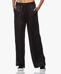 Les Coyotes De Paris Alena Loose-fit Satin Pants - Black