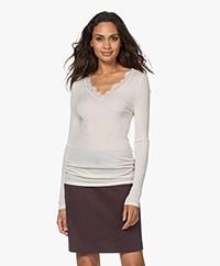 HANRO Wool-Silk Long Sleeve with Lace - Vanilla