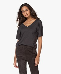Filippa K Soft Sport Double V-neck T-shirt - Coal