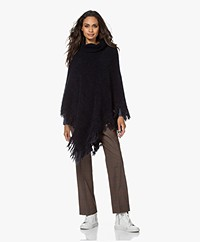 no man's land Mohair Blend Poncho with Fringes - Dark Sapphire