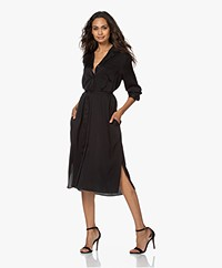 Repeat Silk Blend Shirt Dress with Optional Tie Belt - Black