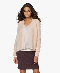 no man's land Open Mohair Blend Cardigan - Pink Pearl
