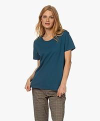 Denham Emma Cotton Round Neck T-shirt - Legion Blue