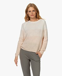 Sibin/Linnebjerg Aki Mohair Blend Sweater - Baby Pink/Off-white