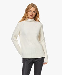 Repeat Contrast Knitted Rib Turtleneck Sweater - Cream