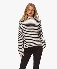 indi & cold Striped Funnel Neck Sweater - Beige/Black