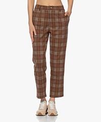 indi & cold Checkered Jersey Pants - Caoba