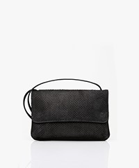 by-bar Julie Snake Cross-body Tas - Zwart