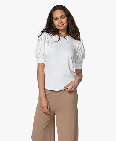 FRAME Stretch Viscose Balloon Sleeve T-shirt - White