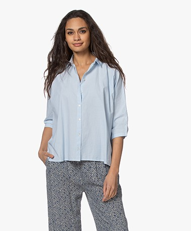 by-bar Norel Cotton Oversized Blouse - Light Blue