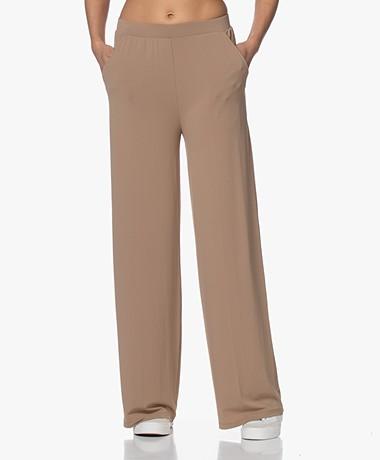 LaSalle Wide Crepe Jersey Pants - Camel