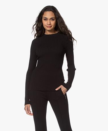 Anine Bing Cecilia Rib Knitted Long Sleeve - Black