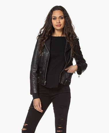 Zadig & Voltaire Lenni Lamb Leather Biker Jacket - Black
