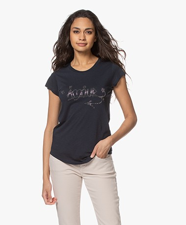 Zadig & Voltaire Skinny Amour Jormi T-shirt - Donkerblauw