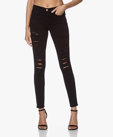 FRAME Le Skinny de Jeanne Ripped Jeans - Film Noir