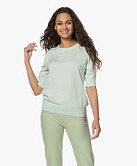 Repeat Bio Cotton Blend Sweater with Elbow-length Sleeves - Pistache