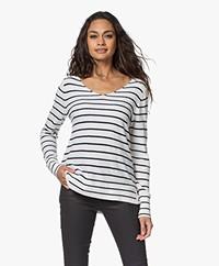 Josephine & Co Linna Cotton Blend Frotté Sweater - Navy/White