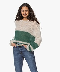 by-bar Evi Astro Intarsia Mohair Blend Pullover - Botanic/Sand